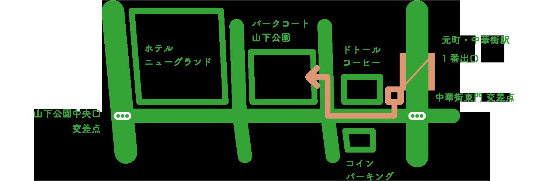 駅改札からのルート地図